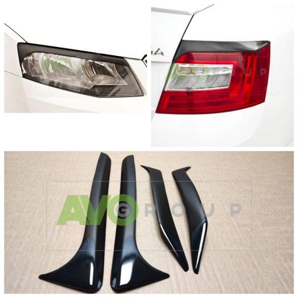 Eyelids SET for Skoda Octavia 3 13-17 Front + Rear ABS Gloss